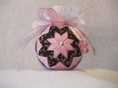 Quilted no sew fabric Baby Girl ornament ball by KCFabricOrnaments, $15.00