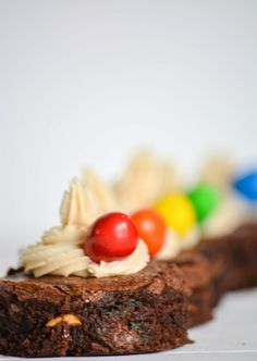 peanut m&m brownies from scratch with whipped peanut butter frosting :) #brownies