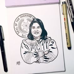 #inktober Day 25: Wilma Mankiller  She was the first woman elected to serve as chief of the Cherokee Nation. Mankiller worked for several years as an indigenous and womens rights advocate. She participated in the Alcatraz Occupation and was greatly inspired by it to become more active in Native American issues.     #inktober #inktober2017 #ink #drawing #illustration #wonderwomen #wilmamankiller #cherokee #cherokeenation #nativeamericanwoman Cherokee Nation, Native American Women, Wonder Women, Women In History, Inktober, Nativity, Faces, Doll, Culture
