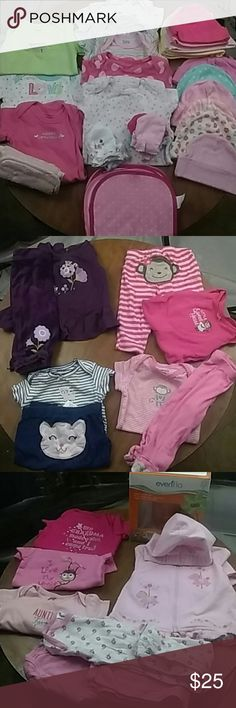 Bundle of 0-3m baby girl *New halo sleep sack swaddle. *2 pjs. 0-6m *One little zip up hoodie Size 3-6 Child of mine * (1)0-3m onesie  * (4) onesies  (Bird's,floral,polka dot and rainbow stripes) *(6) onsies ( Mommy's precious girl, Daddy's little angel, My grandma made a wish and I came true, I love my uncle and Auntie's favorite and Love) *(4) outfits.  * mittens * 3 baby clothes *12 hats  *Evenflo Infant starter set comes : 2-8oz bottles with antomic newborn nipples 2-4oz bottles with…