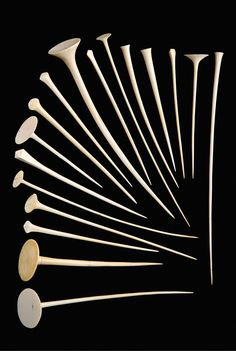 Africa | Collection of 17 hairpins from the Mangbetu people of DR Congo | Ivory | Prestige items worn by both men and women | 8,400€ for the lot ~ sold (Sept '07)