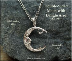Sterling Silver Bailed Double-Sided Moon with Dangle Area, Moon Jewelry Supply - Silver Enchantments Moon Jewelry, Pendant Jewelry, Wicca, Pagan, Witch Jewelry, Beautiful Moon, Jewelry Supplies, Jewelry Findings, Dangles