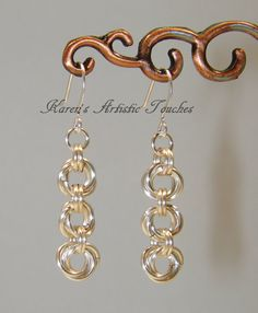Silver Flower Wire Dangle Chain Mail Earrings 2 make a set to match the bracelet