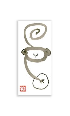 Year of the Monkey for Chinese Zodiac - Zen Monkey Mind Sumi ink Painting in scroll like design. Were you or someone you know born in a monkey year?