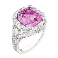 Fabergé cushion-cut baby pink sapphire engagement ring surrounded by white diamonds in round and pear shape set in white gold. Very girl and feminine. Colored Engagement Rings, Best Engagement Rings, Engagement Jewellery, Pink Diamond Ring, Diamond Bands, Pink Ring, Tiffany Harmony, Sapphire Jewelry, Sapphire Rings