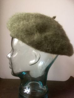 Kangol/beret/angora/wool/blend/army green by WifinpoofVintage on Etsy Beret, Army Green, Wool Blend, I Shop, Vintage Items, Statue, Sculpture, Hats, Handmade