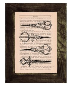 Vintage Book Print Dictionary Antique Scissors Print on by PRRINT, $6.99