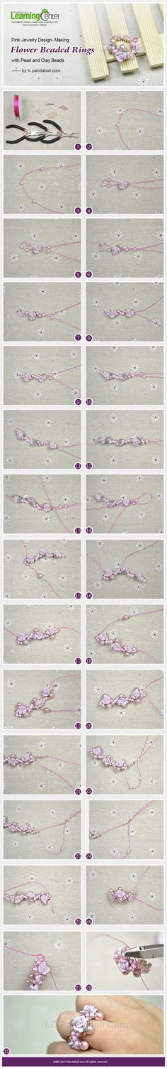 Pink Jewelry Design- Making Flower Beaded Rings with Pearl and Clay Beads