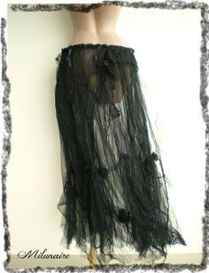 Jupe longue noire gothique dentelles - style goth - jupon tulle froissé