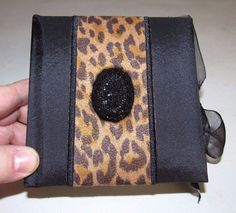 MEMO PAD CUBE BLACK & TAN LEOPARD WITH VELVET BLACK GEM EMBELLISHED COVER#LEOPARD#MEMOPAD