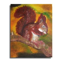 SQUIRREL PAINTING,oil painting,unique canvas, 8x12in, flowers painting, gift idea, art, wall decor, flowers art, free shipping