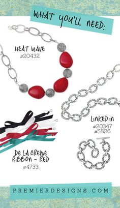 "heat wave  -18"" necklace. $49. Linked in  21"" $39, bracelet  adjustable 8 1/4 -$29.   (Also avail. In antique gold)"