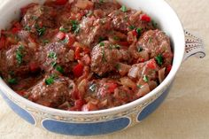 Frikadelle (meat balls) in tomato, wine and onion sauce ~ South African Cookery