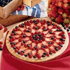 Vanilla Cream Fruit Tart  This amazing dessert takes a bit of time but once you make it, you'll be sure to find time to do it again.  Can also be made in a 9x13 baking pan without changing the recipe.  Enjoy, we do!