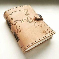 Leather travel notebook with initials- kožený cestovateľský zápisník A5 / world map / pyrography / travel log / bookbinding / leather work / handmade / Slovakia