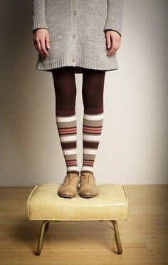 Women's Fun Stripes: Brown & Blush (Nylon) - VIM & VIGR Fashionable Compression Socks