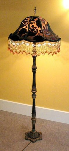 Gold Stencil Trim Antiques Toleware Modest Vtg Mid Century Small Tole Metal Chimney Lamp Shade Black