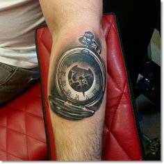 pocket+watch+tattoo+on+forearm