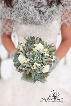 Succulent Wedding Bouquet, Rustic bouquet, Spring wedding bouquet, Winter Bouquet, Alternative Bouquet,Aqua bouquet,mint bouquet. $150.00, via Etsy.