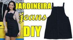 Jardineira /Salopete jeans feita com pernas de calça Diy - Suellen Redesign