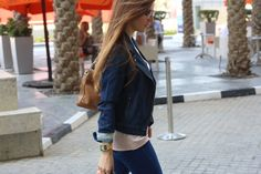 Alexandria in a GAP biker jacket