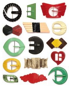 These buckles were machined out of Galalith plastic slabs, probably in Brazil or Europe in the 1930s. The variety of designs and colors is endless.