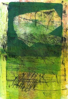 "Michèle Brown  - ""Landscape Green"", Monoprint Ink jet transfer, acrylic"