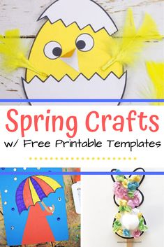 Printable Spring Crafts, Explore this awesome collection of printable spring crafts for kids that includes easy projects featuring flowers, bunnies, birds, and more! Spring Crafts For Kids, Spring Projects, Craft Projects For Kids, Easy Projects, Craft Ideas, Spring Activities, Craft Activities, Toddler Activities, Preschool Arts And Crafts