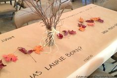 Fall Birthday Party Really cute idea for table cloth every spot gets 1 question. About the birthday girl/boy, fun and creative Fall 1st Birthdays, Fall Birthday Parties, Birthday Party Tables, 50th Birthday Party, Second Birthday Ideas, First Birthday Themes, Fall Birthday Decorations, Pumpkin Patch Birthday, Party Ideas