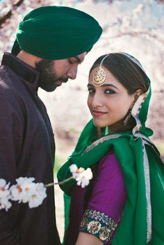 Punjabi wedding photos girl boy bride suit green purple