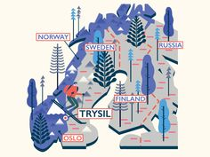 Trysil (Norway) Map by Owen Davey