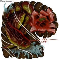 Japanese Koi Fish Tattoo, Japanese Tattoo Designs, Asian Tattoos, Fish Tattoos, Koy Fish, Koi Tattoo Design, Buddha Painting, Japan Tattoo, Oriental Tattoo