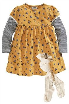 Ochre Ditsy Dress And Tights Set (3mths-6yrs)