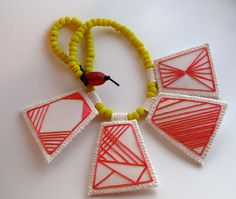 Astrid R./AnAstridEndeavor - Geometric necklace, embroidered hot pink