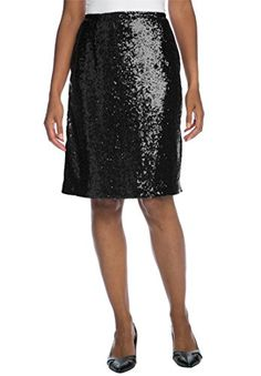 Jessica London Womens Plus Size Sequin Skirt Black14 -- You can find out more details at the link of the image.(This is an Amazon affiliate link and I receive a commission for the sales)