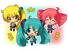 Akita Neru is joined by her arch rival Hatsune Miku and friend Teto Kasane!! In chibi form... :3