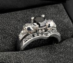 Cráneo conjunto de anillo de compromiso anillo de por Johnny10Rings