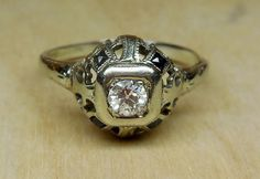 Vintage Antique .40ct Old European Cut Diamond Sapphire 18k White Gold Engagement Ring BELAIS Art Deco 1920 by DiamondAddiction on Etsy