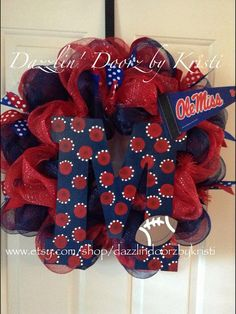 Ole Miss Wreath by DazzlinDoorzbyKristi on Etsy, $65.00