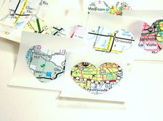 Heart stickers, Recycled Maps, Upcycled Map Sticker, Heart Seals, Eco friendly stickers, wedding invitation seals. $4.00, via Etsy.