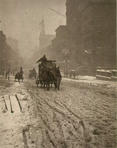 """Alfred Stieglitz """"Winter on Fifth Avenue, New York"""" 1893 Edward Steichen, Alfred Stieglitz, New York Architecture, Architecture Images, Flatiron Building, Fosse Commune, York Art Gallery, Susan Sontag, History Of Photography"""
