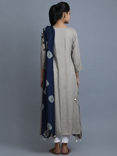 Beige Navy Blue Rayon Kurta with Attached Tie and Dye Dupatta