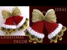 Decor Idea For Christmas - Crochet Bells - Crochet Ideas Crochet Christmas Decorations, Crochet Ornaments, Christmas Crochet Patterns, Christmas Knitting, Christmas Images, Christmas Angels, Christmas Projects, Christmas Tree Ornaments, Baby Booties Knitting Pattern