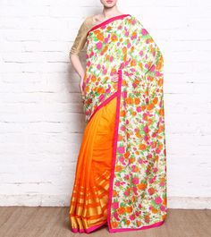 Anita Kanwal - Orange Kota & Jute Silk Saree With Floral Printed Palla CLICK ON THE PHOTO TO SHOP!