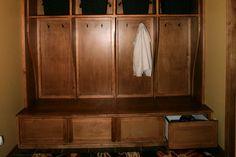 Custom wood lockers by Seaton Custom Cabinetry Gameroom Ideas, Wood Lockers, Diy Sewing Projects, Custom Cabinetry, Custom Wood, Game Room, Closets, Armoire, Cabinets