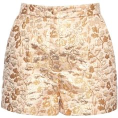 Dolce & Gabbana Floral-brocade high-rise shorts ($813) ❤ liked on Polyvore featuring shorts, gold, high rise shorts, dolce&gabbana, floral high waisted shorts, highwaist shorts and high-waisted shorts
