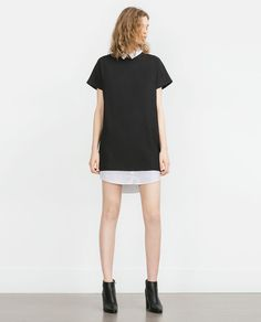ZARA - COLLECTION SS16 - DRESS WITH CONTRAST NECK AND HEM