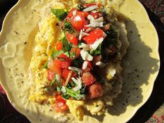 Sriracha Eggs over Biscuits with Basil Salsa. Invite someone for brunch this Sunday. Just add Mimosa or Bloody Mary.