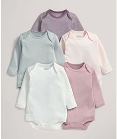 Five Pack of Pink Striped Long Sleeved Bodysuits