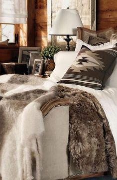 Rental cabin bedding: A cozy and glamorous bedding collection, Alpine Lodge features shades of cream and cocoa, bold patterns and luxe cashmere and shearling. Glamorous Bedding, Home Bedroom, Master Bedroom, Bedroom Ideas, Master Suite, Baby Bedroom, Bedroom Designs, Bedroom Inspiration, Kids Bedroom